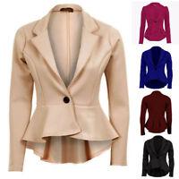 Womens Stretch Peplum New One Button Long Sleeves Ladies Coat Jacket Blazer Top