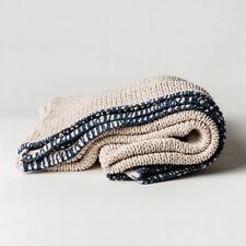 MJG by Mr Jason Grant Sophia Cotton Chunky Knit Throw - Natural/Blue 130x170cm