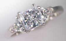 1.5 ct Princess Ring Side Trillions Top BrilliantCZ Imitation Moissanite Size 8