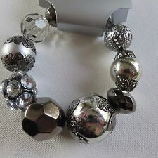 STATEMENT CHUNKY SILVER GUNMETAL GREY CHRISTMAS BAUBLE STRETCH BALL BRACELET new