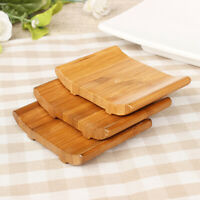 1pcs Natural Bamboo Rack Soap Dish Wooden Case Tray Holder Shower Plate Soap Box
