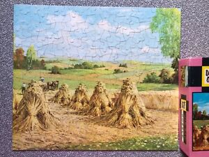 Vtg Jigsaw Puzzle Deluxe Guild COMPLETE 376 Pc Reaping The Harvest Hay Stack  E1