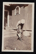 Vintage Antique Photograph Man Leaning Over Cute Little Boy Holding Pitchfork