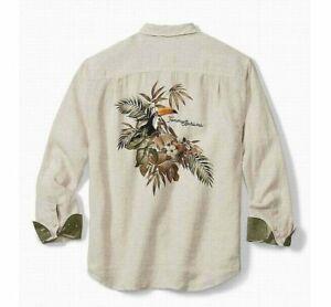 Tommy Bahama Toucan Escape 100% Linen long sleeve Shirt men's size 2XLB New