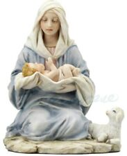 Blessed Virgin Mary Holding Baby Jesus with Lamb Statue Sculpture Figurine