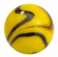 Two 35mm Giant Bumblebee Glass Marbles w Stands Yellow w Dark Swirls Vacor 1.4""