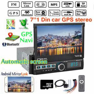 7'' GPS 1DIN Car Stereo Radio Touchscreen  Bluetooth Auto Retractable MP5 Player