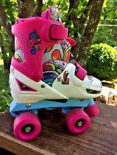 Skechers Butterfuly Rainbow Heart OutSide Inside Roller Skates Girls Shoes Sz M