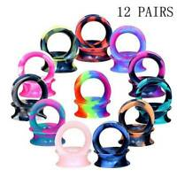 12 Pairs Soft Thin Silicone Ear Plugs Earskin Double Flared Flesh Tunnels Gauges