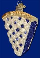 BLUEBERRY PIE SLICE OLD WORLD CHRISTMAS GLASS FRUIT DESSERT ORNAMENT NWT 32155