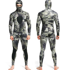 1.5mm Neoprene Camo Diving Suit Freediving Spearfishing Wetsuit w/Attached Hood