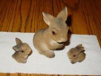 (3) Vintage CERAMIC FLOCKED Easter RABBIT Bunny Family - Mother & 2 Babies