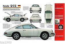 1963-1967 PORSCHE 911 SPEC SHEET/Brochure/Prospekt: 1964,1965,1966