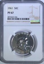 1961 NGC PF67 PROOF FRANKLIN HALF DOLLAR WHITE COINS 50 c 90% SILVER