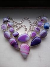 MULTI COLOR BOTSWANA AGATE SILVER PLATED NECKLACE - 105.2 grams