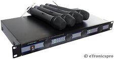PYLE PROFESSIONAL KARAOKE DJ VHF CORDLESS WIRELESS 4 MICS MICROPHONE SYSTEM NEW