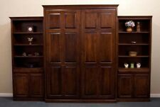 """Custom Stained Quality Wood Raised Panel Murphy Bed QUEEN 33"""" Bookcase Cabinets"""