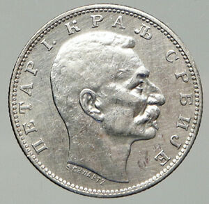 1912 SERBIA King Milan I Crown OLD ANTIQUE Silver 5 Dinar Serbian Coin i92626