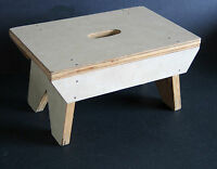 """Hand Crafted Solid Wood Foot Stool w Handle Slot 14x9.5"""" FREE SH"""