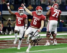 Baker Mayfield Oklahoma Sooners Football Signed 8X10 Rp Photo TD Endzone Dance