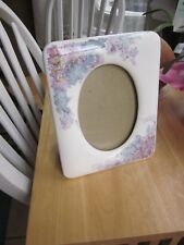 "Ceramic Photo Frame White Lavender Blue Floral 7.5x 6"" Oval Picture 3X5"" Vintage"