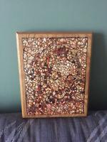 Unique masterpiece  mosaic of Saint Anne artwork on wood base