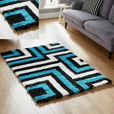 MODERN BLACK BLUE BEST QUALITY SOFT SMALL 60x120cm SHAGGY RUG 5CM PILE RUG SALE