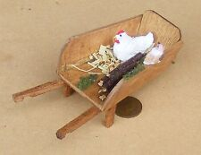 1:12 Scale Wooden Wheel Barrow Dolls House Miniature Garden Accessory + Chicken