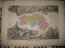 Antique 1861 Department De Orne Lencon France Levasseur Hndclr Map Wine Interest
