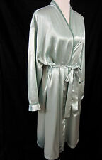 Halston Wrap Robe 3X 3XL Lounge Wear Pale Sage Green Satin Pastel
