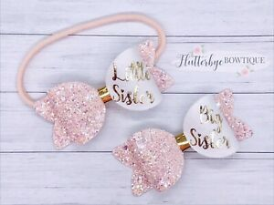 Set Of 2 Personalised Small glitter Hair Bow, Baby Headband, Toddler Bows