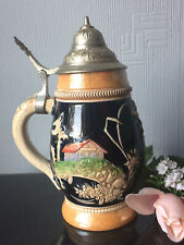 VTG GERMANY Pottery Beer Stein Tankard Collectable Mug & Pewter Lid Heavy 500ml