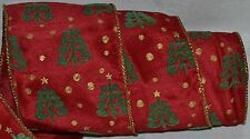 Wired Ribbon~Mod Christmas Tree~Holiday Red~4 in.~Green~Gold~Wreath~Gift~Bow