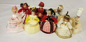 "Lot of Vtg Styrofoam Beaded Sequin Push Pin Hand Made Doll  Party Dress 5"""