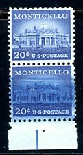EFO 1047 VERT MARGIN PAIR- BOTTOM STAMP WITH DRAMATIC OVERINKING OF BLUE INK