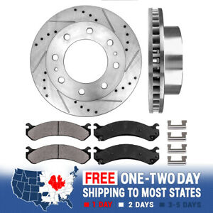 Front Drill And Slot Brake Rotors & Ceramic Pads For Silverado 2500 Sierra 2500