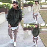 Sleeve Jacket Hoodie Hooded Sweatshirt Fleece Warm Long Top Mens Coat Fur Winter