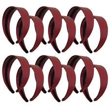 12 Burgundy Girls Wide Headbands Hard Leather Like Red Hairband Hair Accessories