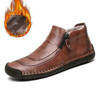 Mens Winter Warm Fur Lined Boots Casual High Top Leather Oxfords Snow Shoes Zip