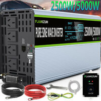 2500W 5000W PURE SINE WAVE Power Inverter 12V To 240V LCD Car Truck Boat Caravan