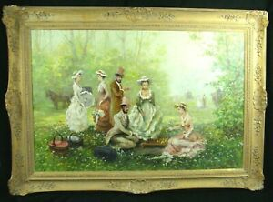 Vintage Alex Saval Impressionistic Oil On Canvas Doctor & Lady Playing Chess