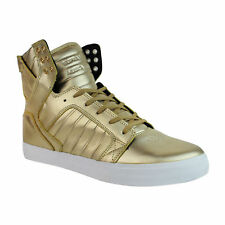 SUPRA Skytop Men Leather High Top Lace Up Sneaker Modelo Gold (08003-718) SZ 9