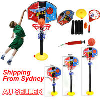 Kids Basketball Toy Portable Sports Set Stand Ball Pump Toddler Baby Ring Ns