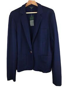 NWT Lauren Ralph Lauren Women's Size XL Navy Blue Gold Button Blazer Jacket