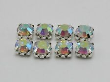 100 Silver with Clear AB Crystal Glass Rhinestones Rose Montees 6mm Sew on Beads