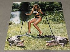 """Beyonce Knowles 2-Sided Poster Bikini w/ Alligators Hot/Sexy Outdoor 14"""" x 14.5"""""""