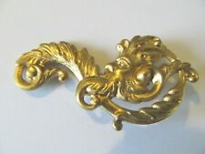 Mythological Green Man Designed Brooch Pin Art Deco Antique Satin Gold Plated