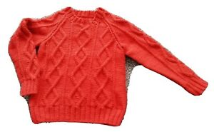 Boys cinnamon, round neck jumper, hand knitted, Age 5 yrs