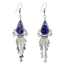 "#4103 Lapiz Peruvian Earrings Stone Drop Artisan Alpaca Silver 2"" Dangles"