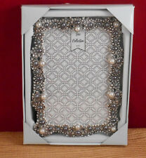 BLING  4 x 6 PHOTO PICTURE FRAME SILVER PURPLE TONE JEWELS GLASS STONES  (C36)